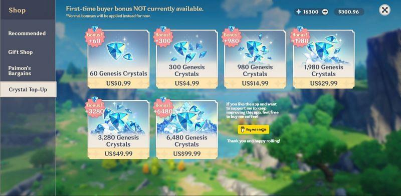 Shop option in Wish Simulator (Image via Genshin Impact)