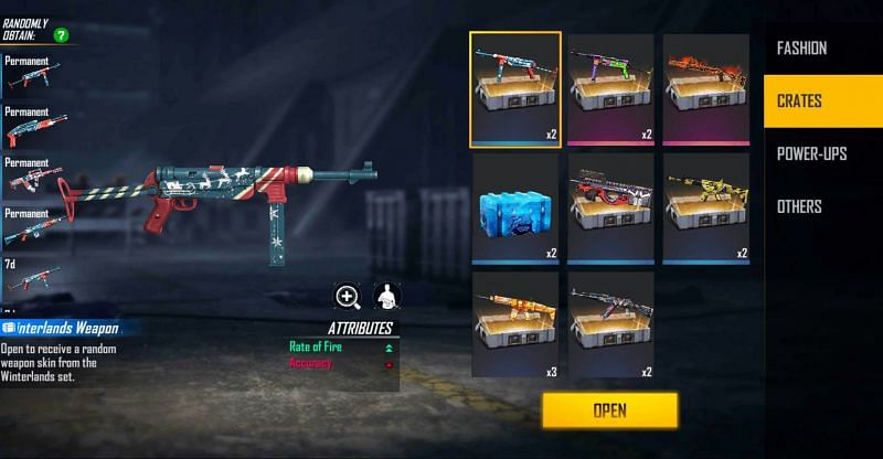This code provides 2x Winterlands Weapon Loot Crate (Image via Free Fire)