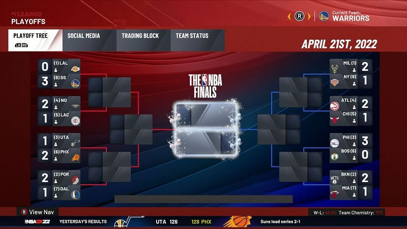 NBA 2K22 MyLeague Playoffs [Source: NBA 2K22]