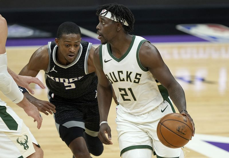 Jrue Holiday #21 of the Milwaukee Bucks in action during an NBA game.