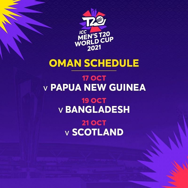 T20 world cup 2021 Schedule - Oman