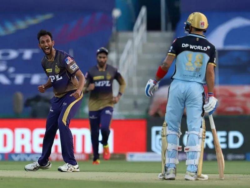 Prasidh Krishna celebrates trapping Virat Kohli lbw in what was the RCB skipper's 200th IPL game [Credits: IPL]