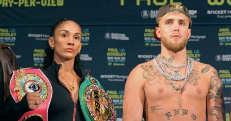 Amanda Serrano (left) and Jake Paul (right)