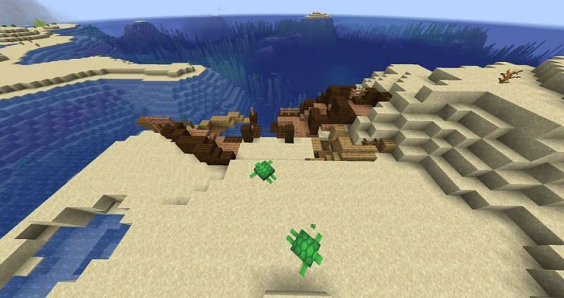 A shipwreck washed ashore (Image via Minecraft Wiki)
