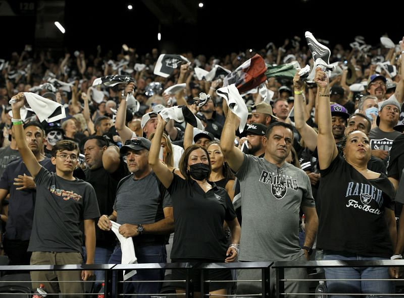 Las Vegas Raiders fans taking in their first home game in Las Vegas in attendance