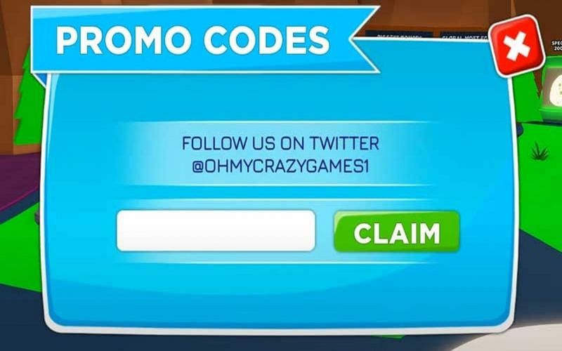 The codes have to be input through the Twitter icon at the side menu (Image via Oh My Crazy Games)