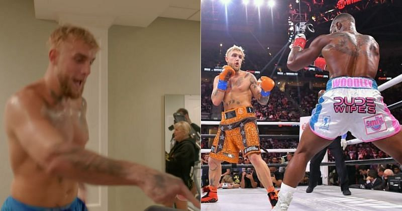 Jake Paul on the treadmill ahead of the fight against Tyron Woodley (Left) [Image credits: Jake Paul on YouTube], Jake Paul vs. Tyron Woodley (Right)