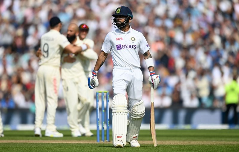India captain Virat Kohli leaves the field after being dismissed by Moeen Ali. Pic: Getty Images