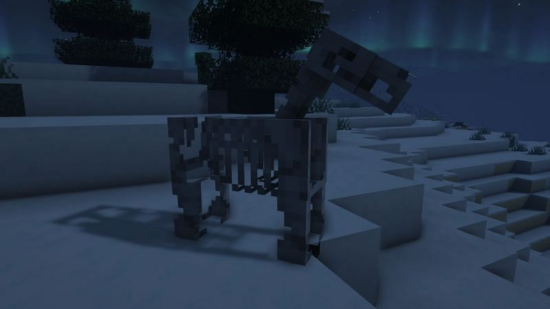 A skeleton horse in the game (Image via Minecraft)