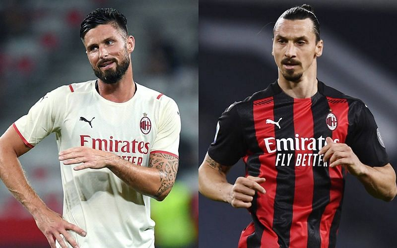 Olivier Giroud and Zlatan Ibrahimovic (right) are among the six scorers for Milan this season.