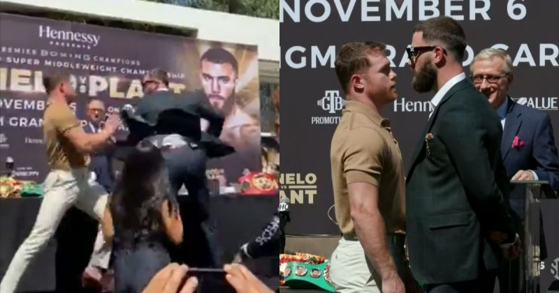 Canelo Alvarez and Caleb Plant traded blows at a press conference