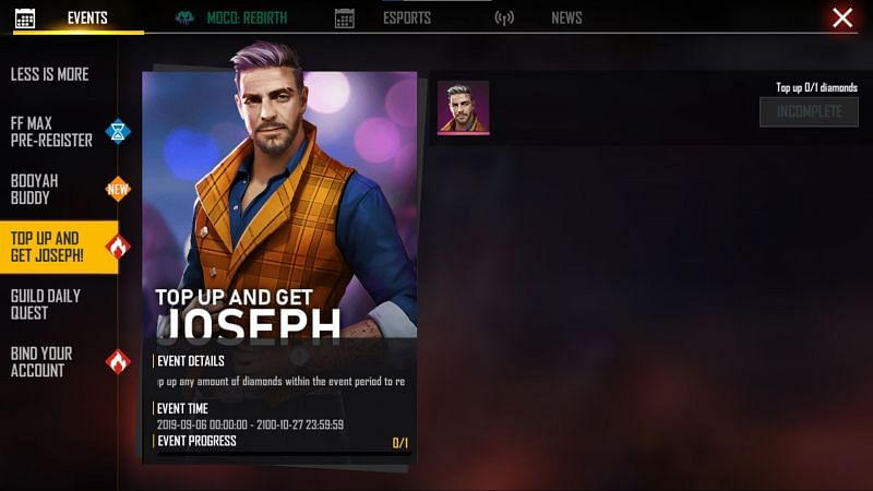 Joseph Character is free on first top up (Image via Free Fire)