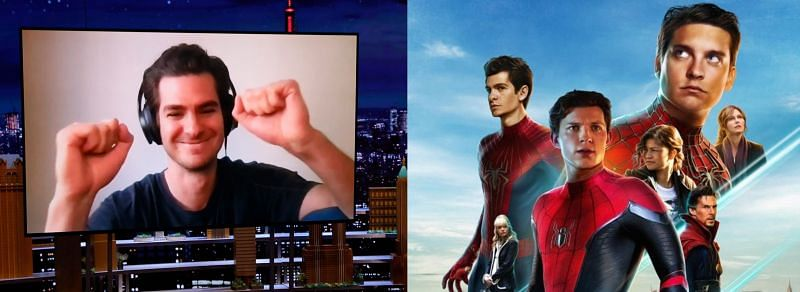 Andrew Garfield on The Tonight Show and Spider-Man: No Way Home concept poster (Image via NBC and Reddit/SteveNevin)