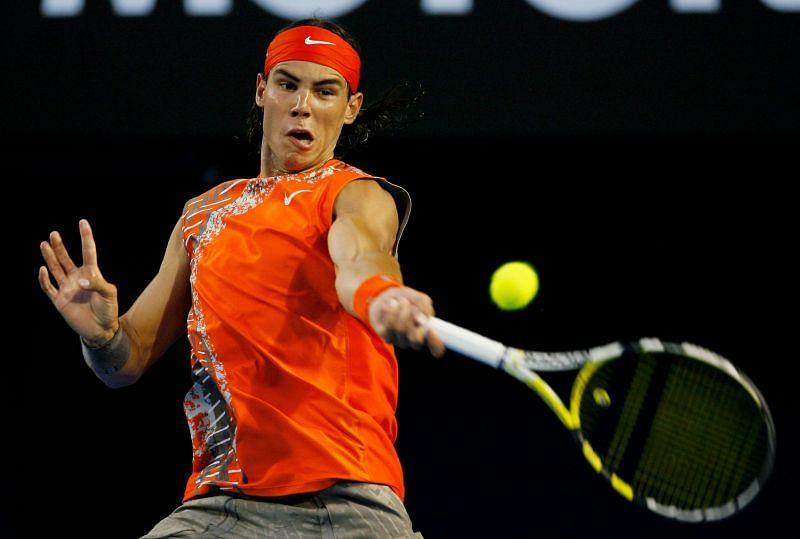 Rafael Nadal sporting a sleeveless look at the Australian Open 2008
