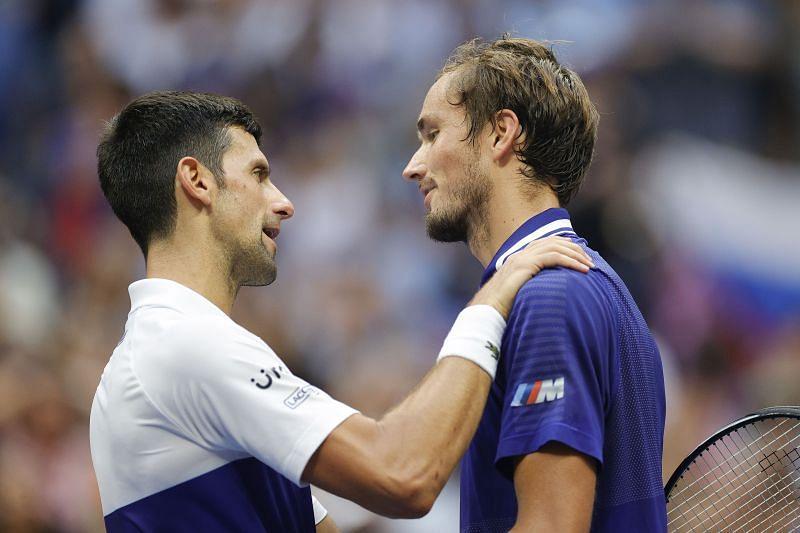 Novak Djokovic (L) and Daniil Medvedev during the men's final.
