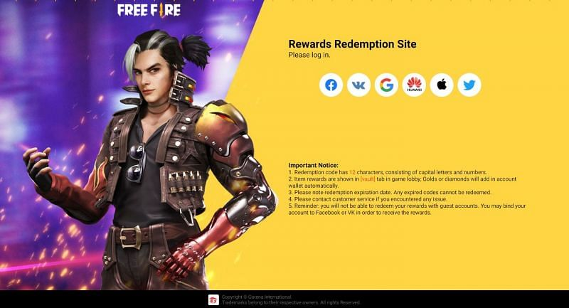 Visit the website and sign in to redeem the code (Image via Free Fire)