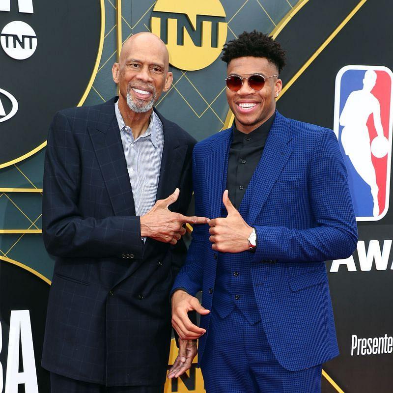 Kareem Abdul-Jabbar (left) with Giannis Antetokounmpo in the 2019 NBA Awards.