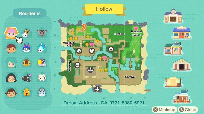 Pulau Impian di Animal Crossing: New Horizons (Gambar melalui ACNH Dream di Twitter)