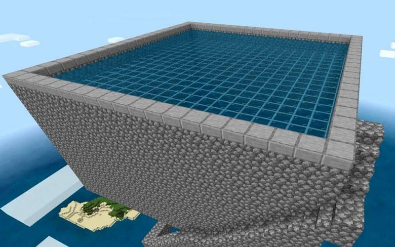 Aerial view of a trident farm's spawning platform. (Image via Minecraft)