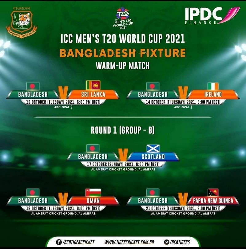 T20 World Cup 2021 Schedule - Bangladesh