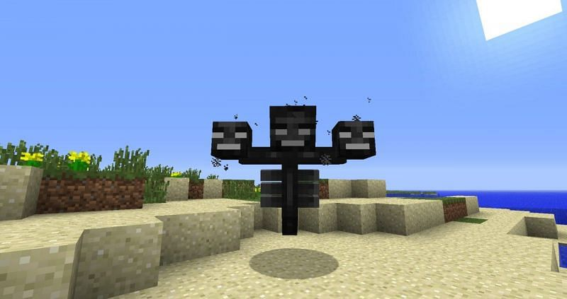 Powerful Wither boss mob (Image via Minecraft)