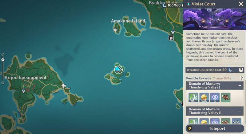 Domain 'Violet Court' on the map (Image via Genshin Impact)