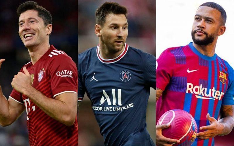 Bayern Munich's Robert Lewandowski, PSG's Lionel Messi and Barcelona's Memphis Depay