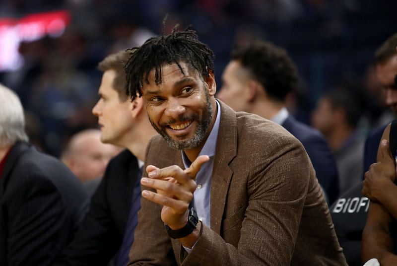 San Antonio Spurs assistant coach Tim Duncan sits on the bench during their game against the Golden State Warriors at Chase Center on November 01, 2019 in San Francisco, California.