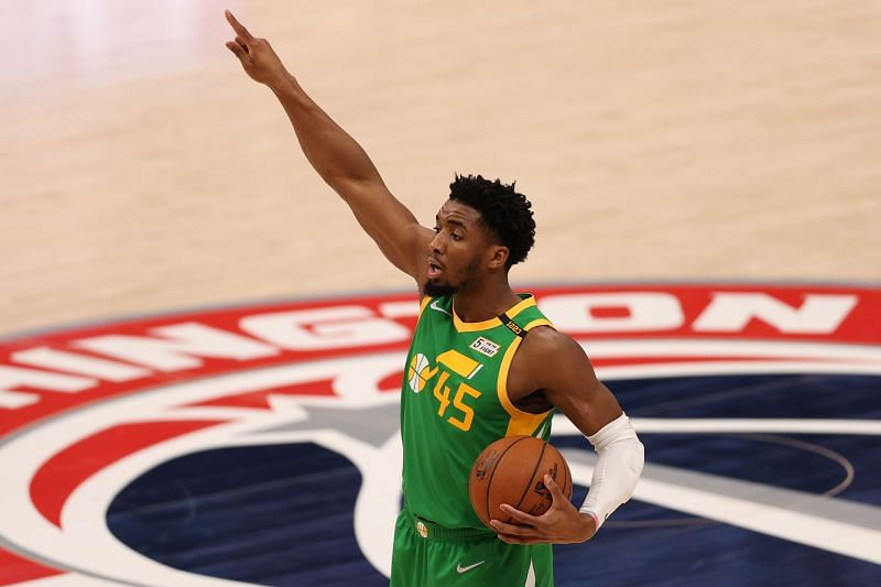 Donovan Mitchell in action during an NBA game.