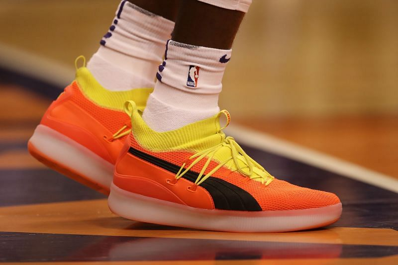 Detail of Puma shoes worn by Deandre Ayton #22 of the Phoenix Suns during the NBA game at Talking Stick Resort Arena on October 17, 2018 in Phoenix, Arizona. The Suns defeated defeated the Mavericks 121-100.