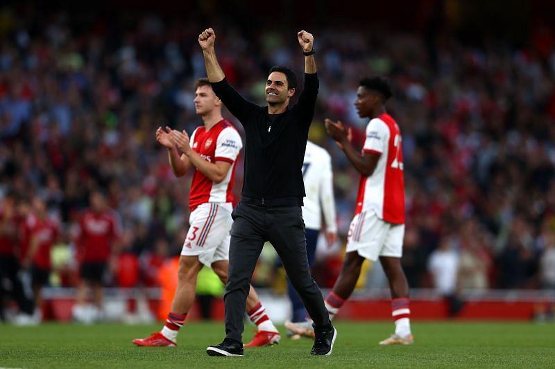 Arsenal manager Mikel Arteta celebrates the win over Tottenham Hotspur.