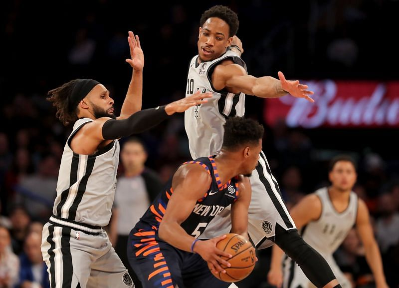 DeMar DeRozan in action against the New York Knicks.