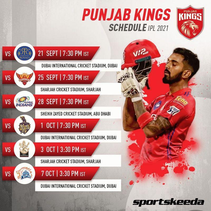 PBKS Schedule IPL 2021