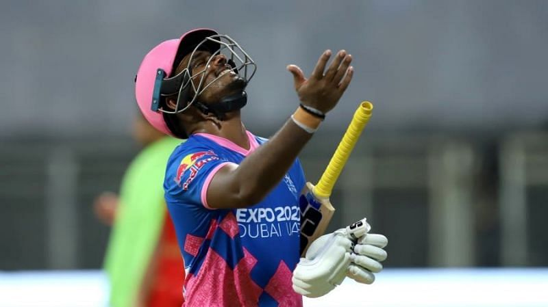 Sanju Samson after getting dismissed on the final ball of the innings against Punjab Kings earlier this year.