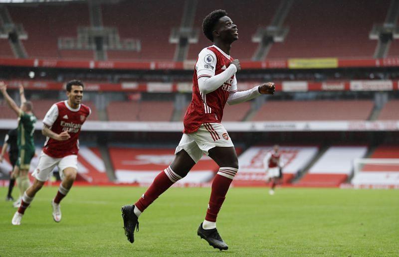 Saka celebrates after scoring against Sheffield Utd