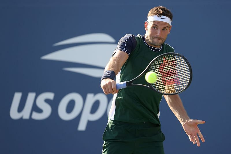 Grigor Dimitrov in action at the 2021 US Open