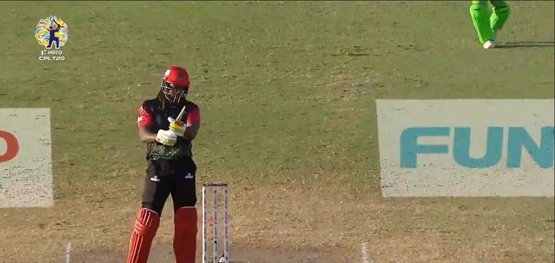 Chris Gayle was left only with the handle of the bat in his hand (p/c CPL T20)