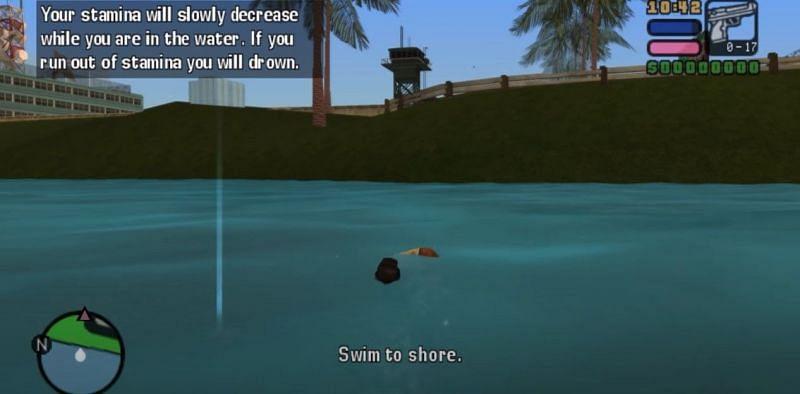 Victor Vance can swim in GTA Vice City Stories (Image via Rockstar Games)