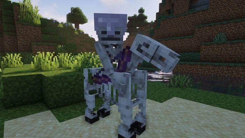 A skeleton horseman in Minecraft (Image via Minecraft)