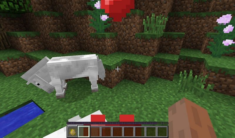 When hearts appear, the animal has been successfully tamed. Image via Minecraft