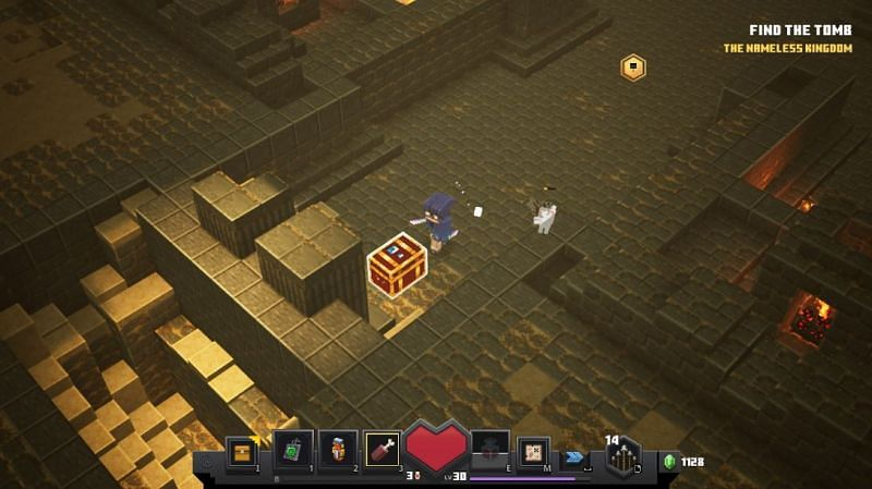 Golden chests have a good chance to drop unique weapons (Image via Mojang)