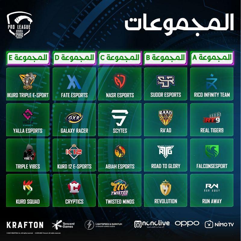 PMPL Season 2 Arabia teams (image via PUBG Mobile)