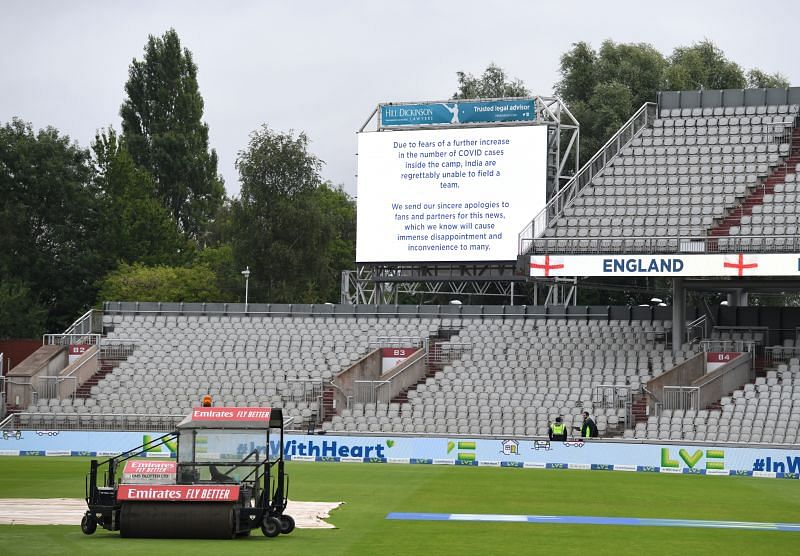 The giant screen at Old Trafford confirms the cancellation of the fifth Test between India and England