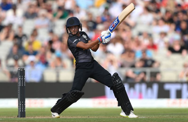 Harmanpreet Kaur in action for the Manchester Originals during Women's Hundred 2021