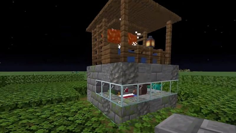 An image of a completed 5x5 block iron farm. (Image via Minecraft.com)