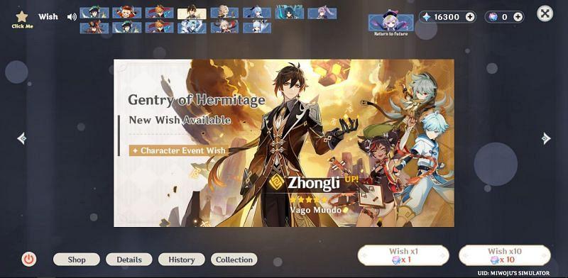 Wish simulating in past banners (Image via Genshin Impact Wish Simulator)