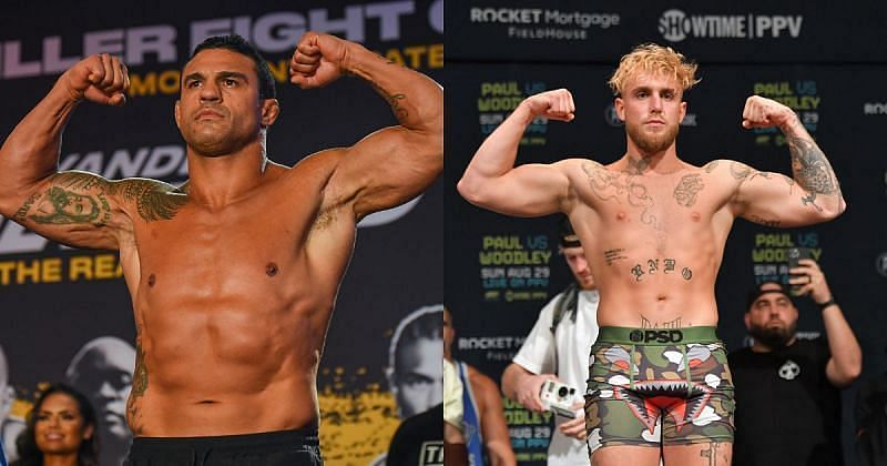 Vitor Belfort (left) and Jake Paul (right)