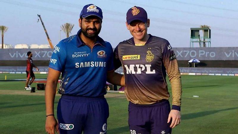 MI and KKR captain Rohit Sharma (L) and Eoin Morgan.