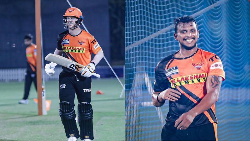 Can David Warner and T Natarajan take the Sunrisers Hyderabad to IPL 2021 Playoffs (Image Courtesy: Sunrisers Hyderabad/Instagram)