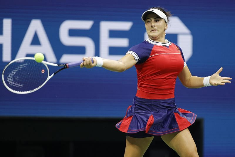Bianca Andreescu hitting a forehand during her first-round match against Viktorija Golubic